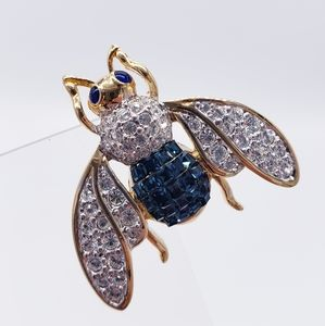 Vintage Rhinestone Pave Flying Insect Bee Brooch
